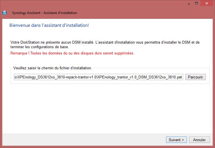 Choix fichier pat - Installation DSM